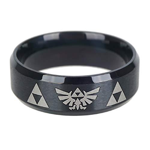 KeySmart Legend of Zelda Schwarzer Metall Ring mit Hyrule Wappen, Ringgröße: 63 (Ringen Rink)