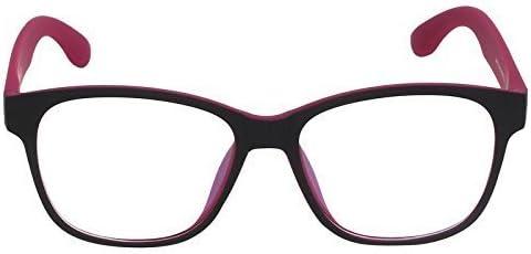 Square Spectacle Frame For Girls|Women.Dark Pink&Matte Black Color Frame.