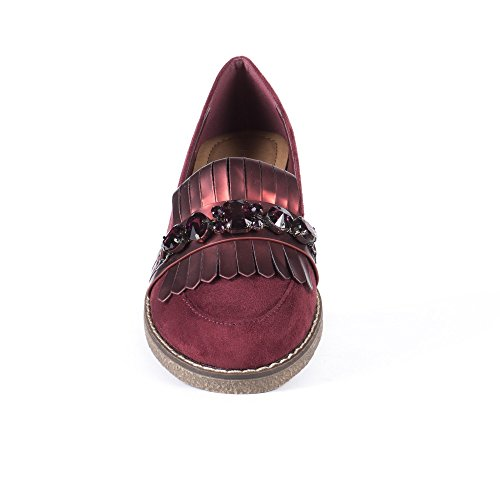 Ideal Shoes Mocassins Effet Daim avec Franges et Strass Theresa Bordeaux