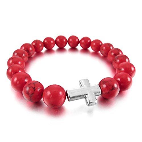 MunkiMix 10mm Alliage Bracelets d'énergie Lien Poignet Pièrre d'Énergie Croix Buddha Mala Boule Perle Élastique Rouge turquoise