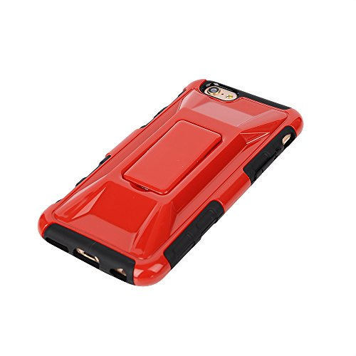 "MOONCASE iPhone 6 Case Dual Layer hybride Hard Shell Béquille Cover Housse Coque Etui Case pour iPhone 6 (4.7"") Blanc Rouge"