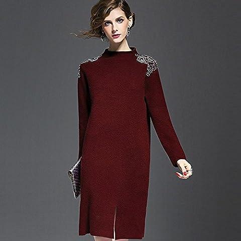WZH Color sólido sueltas de gran tamaño recto engrosamiento Split suéter tejer vestido paso falda de las mujeres . wine red . m