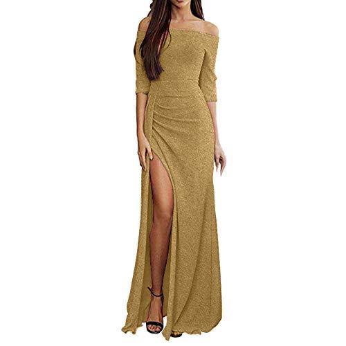 iHENGH Damen Frühling Sommer Rock Bequem Lässig Mode Kleider Frauen Röcke Off Schulter Kleider hoch Split Maxi Lange Abendkleider(Gold, XL) (Herren-knie Hoch Socken Kleid)