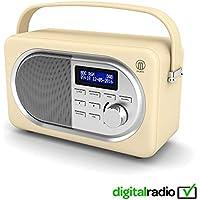 Majority Shelford II Vintage DAB/DAB+ Digital FM Portable Radio, Dual Alarm Clock, Leather Effect Finish, Mains Powered (Cream)