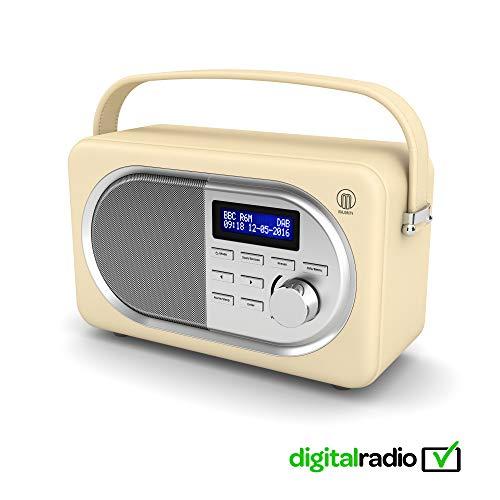 Shelford II Vintage DAB/DAB+ Digital FM Portable Radio, Dual Alarm Clock, Leather Effect Finish, Mains Powered (Cream)