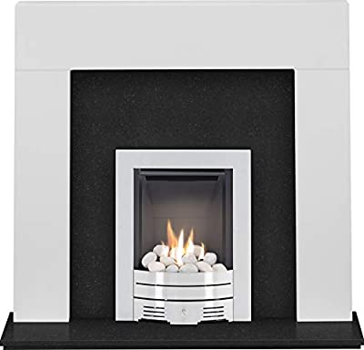 The Miami Pure White & Black Granite with Crystal Diamond Contemporary Fire Brushed Steel, 48 Inch