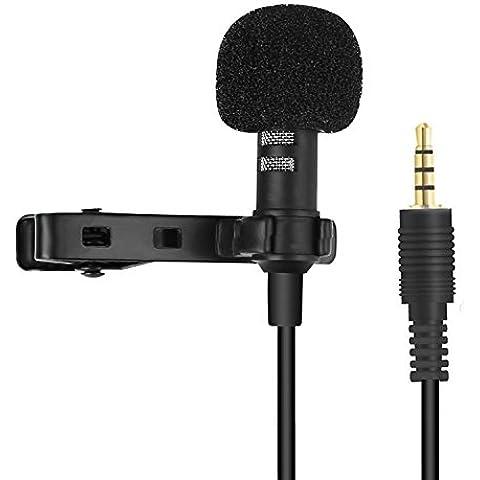 Actualiza micrófono de corbata, PChero clip de corbata micrófono de condensador omnidireccional para iPhone, iPad, iPod Touch, Android y Película Entrevistas de grabación de vídeo (enchufe de oro)