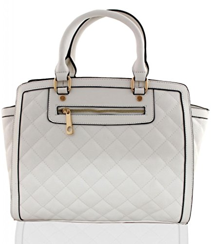 KUKUBIRD QUILTED FAUX LEATHER DESIGNER TOTE LARGE SIZE HANDBAG - WHITE (Quilted Large Tote Handtasche)