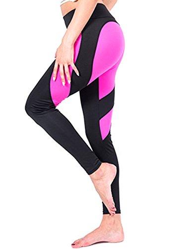 LaLaAreal Mujer Pantalon Deporte de Yoga Leggins Mallas Cintura Alta para fitness Running Fitness Gimnasio con Elastico y Transpirable (Medium, Rosa sin bosillos)