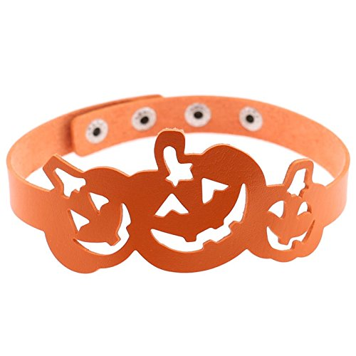 Beydodo Mode Schmuck Halloween Lederkette Halskette Choker Damen Kürbis Orange Halsband (Einzigartige Mutter Tochter Halloween Kostüme)