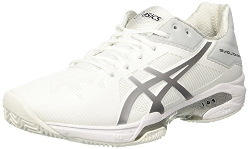 Asics Herren Gel-Solution Speed 3 Clay Tennisschuhe, Elfenbein (White/Silver), 42.5 EU