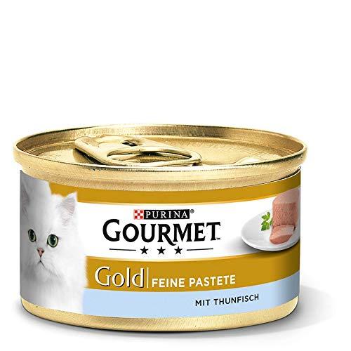 Gourmet Gold Katzenfutter Feine Pastete mit Thunfisch, 12er Pack (12 x 85 g) Dosen