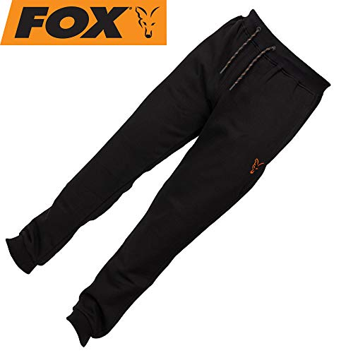 Fox Collection Black Orange Jogger - Angelhose für Karpfenangler & Wallerangler, Jogginghose, Hose für Angler, Anglerhose, Größe:M