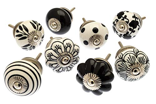 Mango Tree gemischtes Set von 8/x altrosa und wei/ße Punkte und Streifen Keramik-Schrankkn/äufe MG-729
