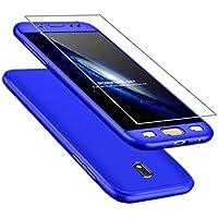 AILZH Funda Samsung Galaxy J5 2017+Película Vidrio Templado Cubierta 360 Grados Caja protección de cáscara Dura Anti-Shock Anti-rasguño del Protector Completo del Cuerpo 360°Caso Mate(Azul)