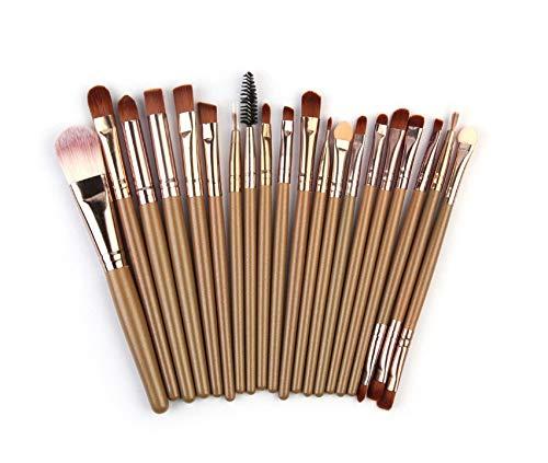 HoEOQeT Jeu de pinceaux de maquillage, 20 pinceaux de maquillage, barre de café en or, manche en bois, pinceau de maquillage, maquillage, outil de maquillage, pinceau