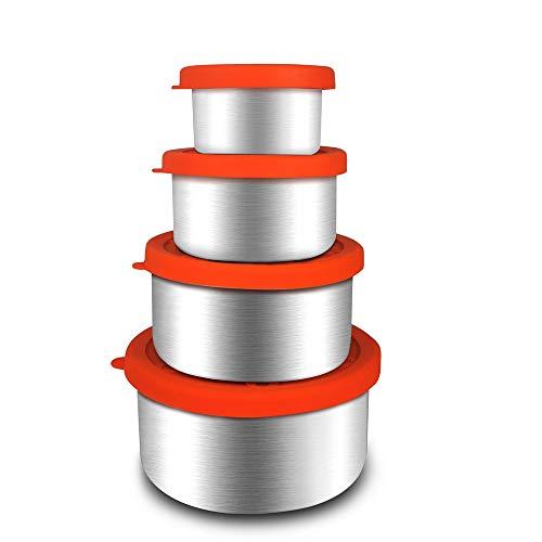 Render 4 Pack Edelstahl Lebensmittelbehälter Set Kühlschrank Lagerung von Lebensmitteln BPA-freie Silikondeckel auslaufsichere Bento-Brotdose