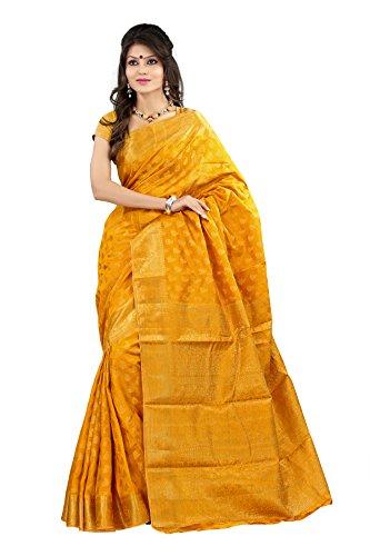 Mimosa Women Art Silk Kanjivaram Saree (2038-Mgold _Gold _Free Size)