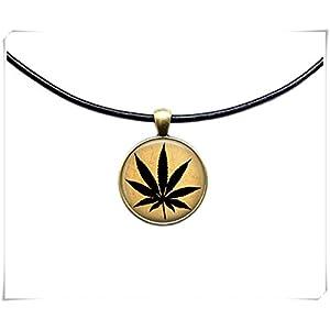 Cannabis Anhänger Botanical Jewelry Halskette Pflanze