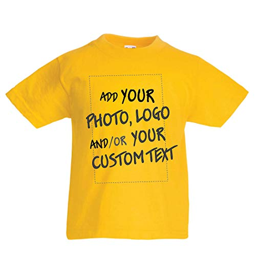 en/Mädchen T-Shirt Individuelles personalisiertes Geschenk, Firmenlogo, eigenes Design oder Foto hinzufügen (3-4 Years Gelb Mehrfarben) ()