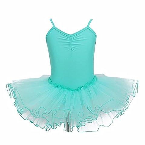 iiniim Girls' Tutu Ballet Dance Dress Dancewear Leotard Gymnastics Clothing Turquoise 11-12 (Costumi Birthday Party Dress)