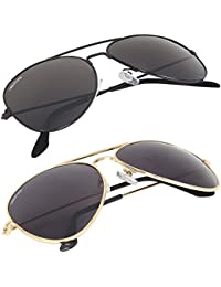 Creature Black Aviator Sunglasses Combo with UV Protection (Lens-Jet-Black||Frame-Black/Gold||SUN-004-005)