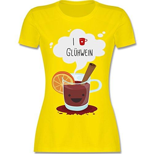 Weihnachten & Silvester - I Love Glühwein Glückliche Tasse - XXL - Lemon Gelb - L191 - Damen T-Shirt Rundhals (T-shirt Gelb Tasse)