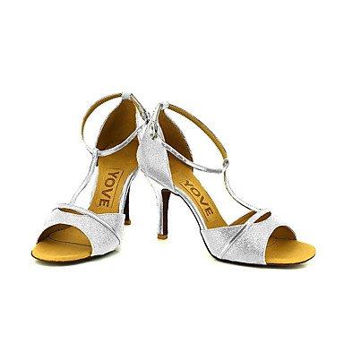 Scarpe da ballo-Personalizzabile-Da donna-Balli latino-americani / Salsa-Tacco su misura-Brillantini-Nero / Blu / Rosso / Argento / Dorato golden