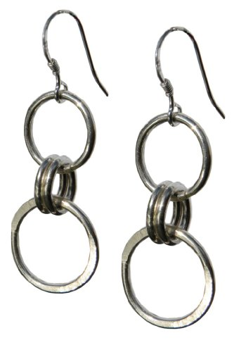 Handmade 925 Sterling Silver Wire Hoop Drop / Dangle Earrings - FREE Delivery in UK Gift Wrapped