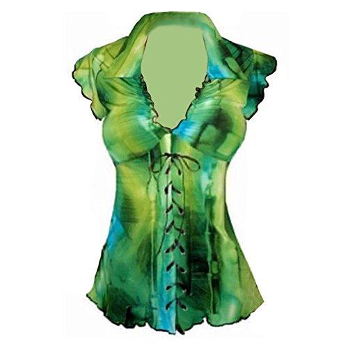 Hibote Dames Blouses Sans manches Tunique Tops Plus Taille Chemises Lacer V Cou Empire Taille Tops Arrêtez-vous gothique Mode T-shirt Été Tops S - 5XL Vert