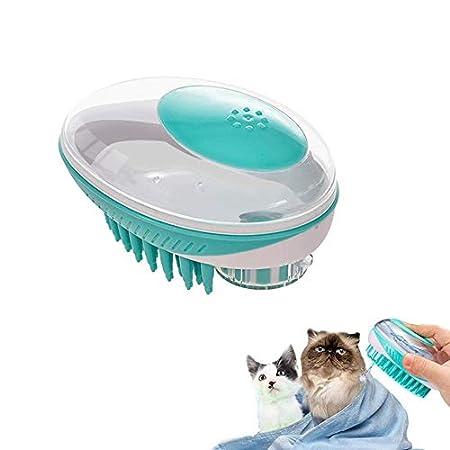 Lesgos Haustier Shampoo Pinsel, 2 in 1 Waschbürste & Massagebürste mit einfachem Selbstreinigungsknopf, Pet Scrubber Shampoo Dispenser Brush, Duschbürste für Hunde & Katzen