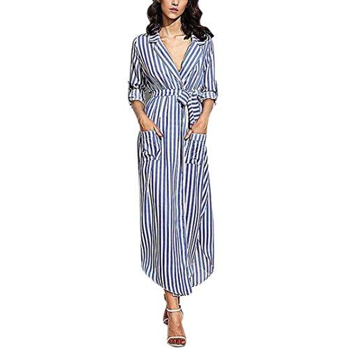 OverDose Damen Elegant Streifen Belted Deep V Neck Langarm Top Bluse Langes Kleid Maxi Kleid Partykleid Blusekleid Business kleid Mit taschen (S, Blau) (Cap V-neck Top Sleeve)