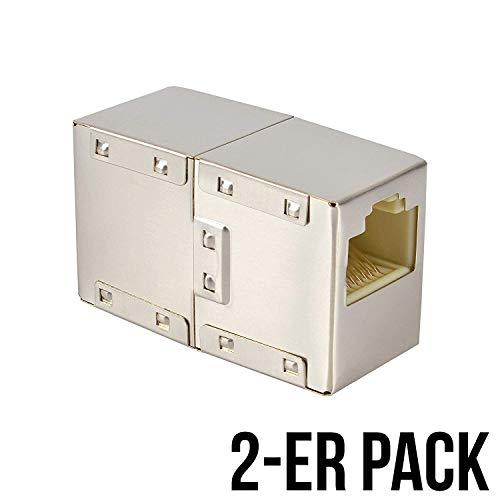 VESVITO 2-er Pack RJ45 LAN Kabel Crossover Kupplung geschirmt Verbinder Netzwerk Netzwerkkabel Modular Coupling Patchkabel für Verlängerung Ethernetkabel Adapter Netzwerkkoppler -