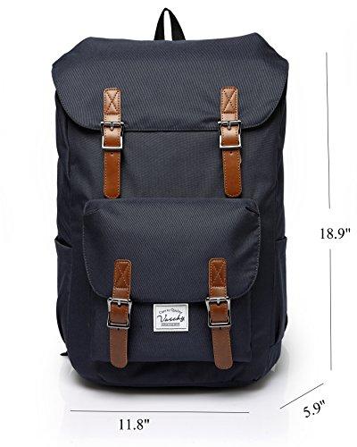 Vaschy Water-resistant Hiking Daypack Travel School Backpck 17in Laptop Blue
