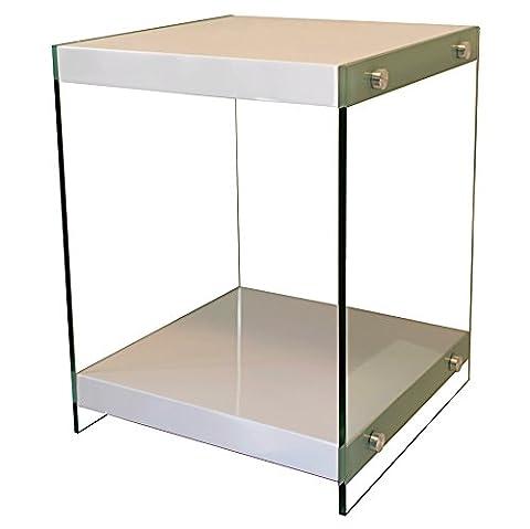 bonVIVO® Designer coffee table STELLA, side table in modern glass-wood combination, oak, white glossy