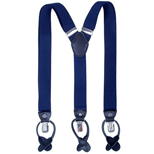 Herren Hosenträger mit Clips Knöpfe - Breite 35mm Y Form Längenverstellbar Hosenträger für Anzug Smoking (Navy Blau) Dual Knöpfe