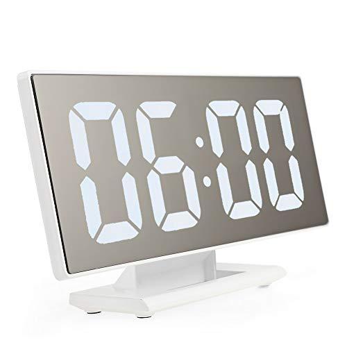 XU-XIAZHI,Digitaler Spiegelflächen-Wecker mit großer LED-Anzeige USB-Anschluss für Schlafzimmer(Color:Weiss)