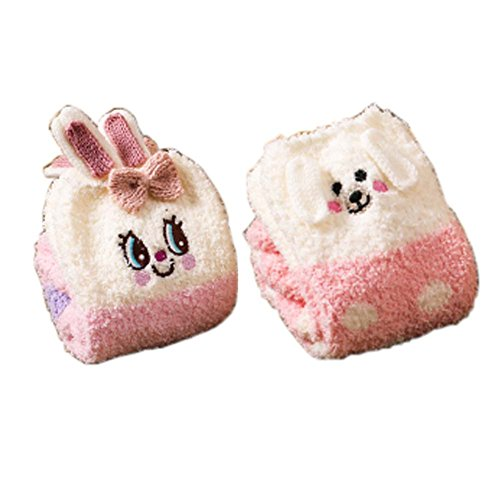2 Paar Soft Fuzzy Schlafsocken Slipper Socken Warm Boden Socken Weihnachtsgeschenke, Kaninchen & Piggy (Fuzzy-socken Gestreifte Weiche)