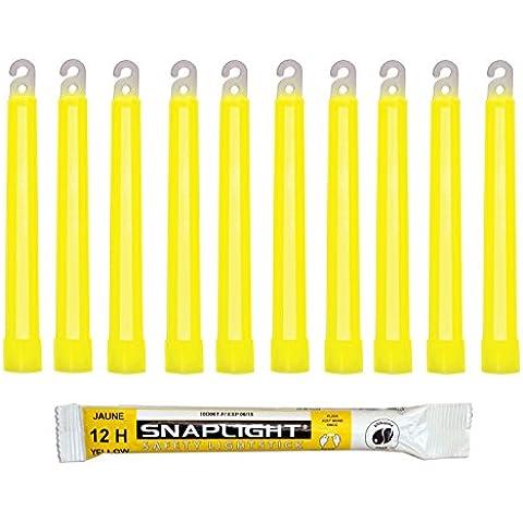 Cyalume Bastoncini Luminosi Giallo SnapLight Glow Sticks 15 cm - 6 Inch Light Stick ultra-luminoso con una durata da 12 Ore (Scatola da 10 pezzi)