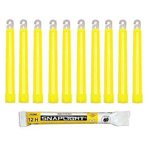 Cyalume Bâton lumineux jaune SnapLight Glow Sticks 15cm, Light Sticks très lumineux avec durée de 12 heures (Boite de