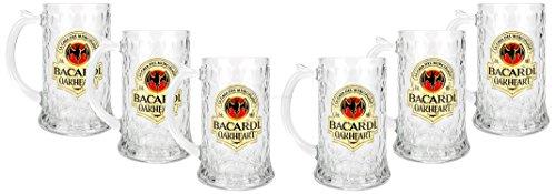 Bacardi Oakheart Rum Krug Cocktail Longdrink Glas Gläser Set - 6x Humpen Cocktail-krug