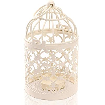 Zedtom 8x14cm Birdcage-shape Metal Tealight Candle Holder Lanterns Wedding Gift Home Table Decoration(White) from Zedtom