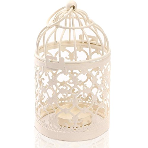 Zedtom 8x14cm Birdcage-shape Metal Tealight Candle Holder Lanterns Wedding Home Table Decoration(White)
