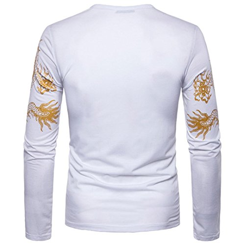 Amlaiworld Uomo stampa casuale O collo pullover manica lunga T-Shirt Bianco