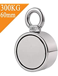 Uolor Double Side Combined 300KG Pulling Force Round Neodymium Magnet, Super Strong Fishing Magnet with Eyebolt for Magnet Fishing and Salvage in River - 60mm Diamete