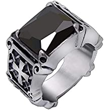 Inception Pro Infinite Anillo Cruz de Malta Celta templarios massoni Piedra Negra Color Plateado para Hombre