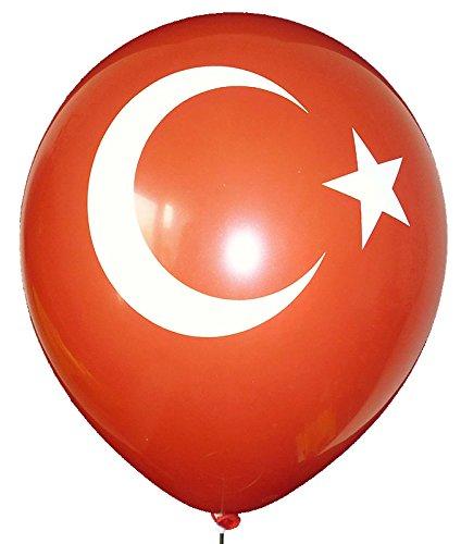 10 Stück Türkei Flagge Ø 33cm, Halbmond + Stern, Aufdruck in weiß, 2 seitiger Druck auf Standardluftballon von Ballonpoint - Ø33cm /12inch, Umfang 100cm, Türkei Flagge - Ballonfarbe ROT, Größe S Luftballon Typ MR100-2313-21H-TURK02 ohne Ballonverschluss. (10 Türkei)