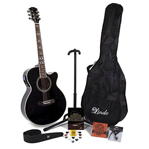 Lindo Black Fire–Guitarra electroacústica con LCD sintonizador XLR/bolsa y completo Pack de accesorios (funda, soporte, cuerdas, correa, 10púas, DVD, cejilla de guitarra)