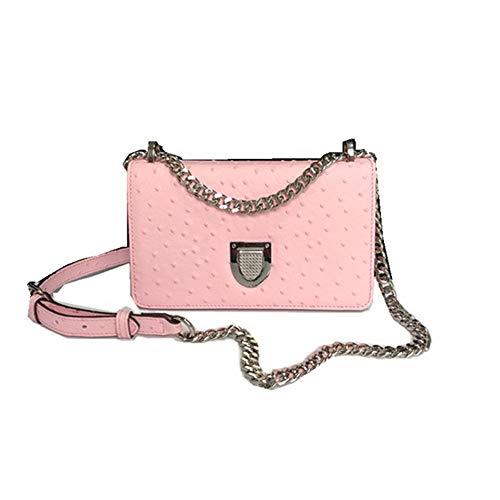 UULMBRJ Damen Umhängetasche, Straußenleder, Designer-Handtasche, modische Kette, Pink - rose - Größe: 33 EU - Straußenleder Handtasche