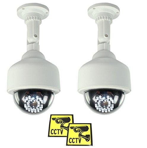 Ex-Pro® Silber Schwarz Solar Akku Speed Dummy Fake-CCTV Sicherheit Kamera Kamera mit Solar Pannel für Blitz LED, IR-Flächenvorhang -